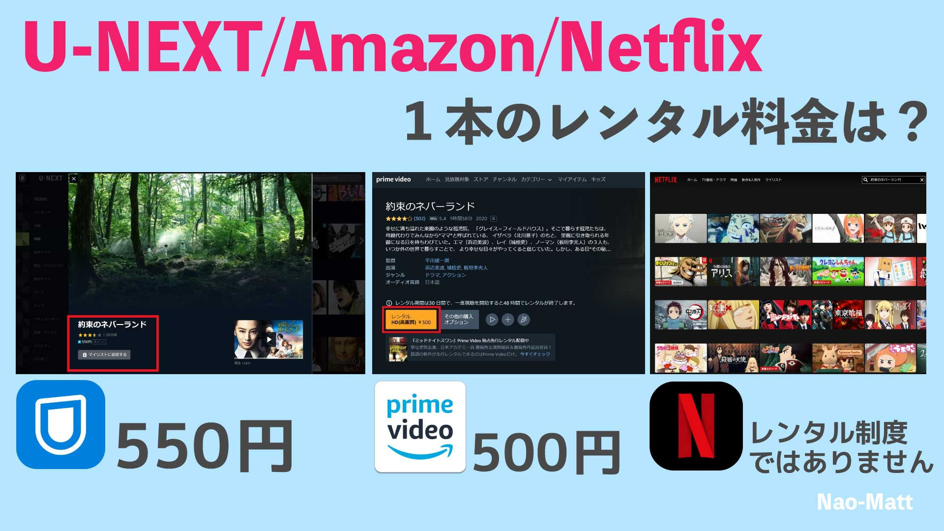 U-NEXTは550円Amazonは500円の証拠写真です